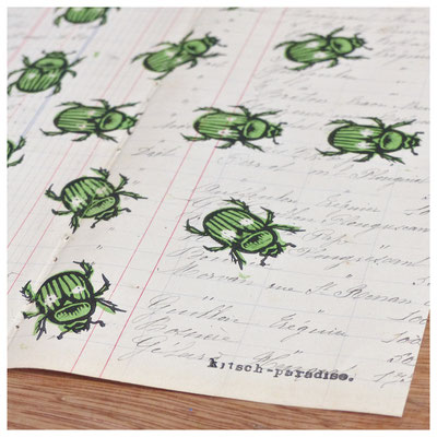 scarabée gravure linogravure ancien papier kitsch paradise kp peinture artisan créateur artisanat