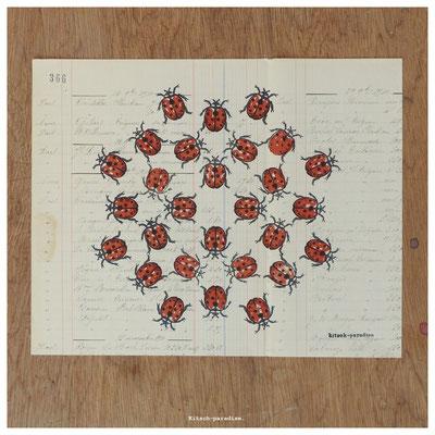 coccinelle gravure linogravure ancien papier kitsch paradise kp peinture artisan créateur artisanat