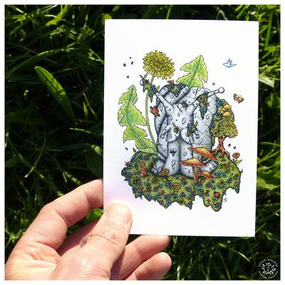 escargot, totem, carte postale, kitsch, paradise, kp, peinture, artisan, créateur, artisanat