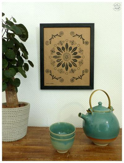 #marguerite #gravure #linogravure #ancien #papier #kitsch #paradise #kp #peinture #artisan #créateur #artisanat #mandala #mantra