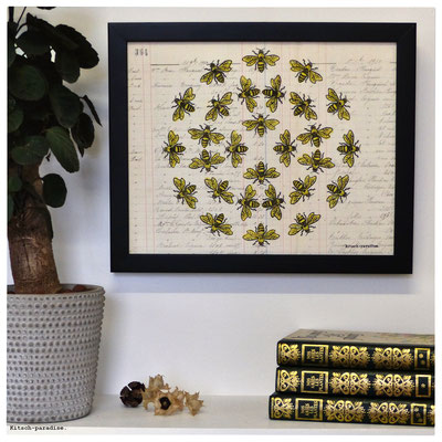 abeille gravure linogravure ancien papier kitsch paradise kp peinture artisan créateur artisanat