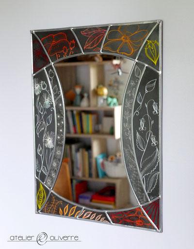 miroir vitrail feuillage