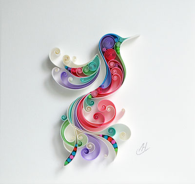 Hummingbird - Bird, Quilling paper art, Birthday gift, Mother's day, Unique gift, Home decor, Framed wall art