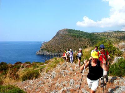 Wandern mit wenig Gepӓck auf dem Weg durch die Macchia nach Porto Infreschi. Auch wenn der Weg zwischendurch bequemer wird, an vielen Stellen sind Wanderschuhe zu empfehlen.