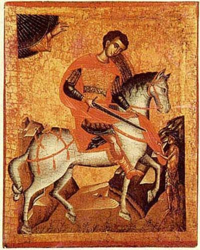 Griechische Ikone des 16. Jahrhunderts: der heilige Martin teilt den Mantel