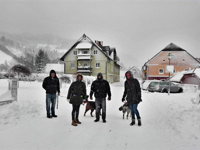 Schneetreiben am Ankunftstag