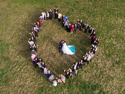 Luftbild Hochzeit mit Drohne erstellt