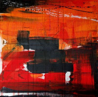 """""""mirage"""" - toile réalisée avec Benoit GUERIN - 80X80 - 2014"""