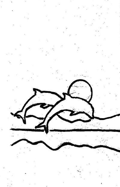 10-Minuten-Malerei: Delfine im Sonnenuntergang