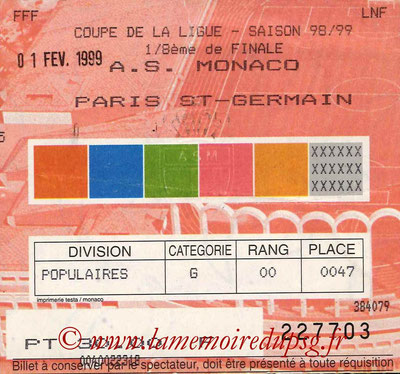 Ticket  Monaco-PSG  1998-99