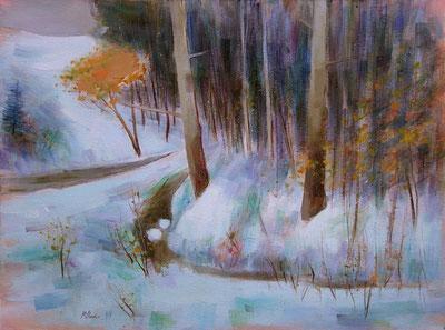 NEIGE ET SOUS-BOIS (huile sur toile) 54 x 73 cm JF.Millan