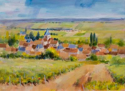 VILLE-DOMMANGE (huile sur toile) 54 cm x 73 cm JF.Millan