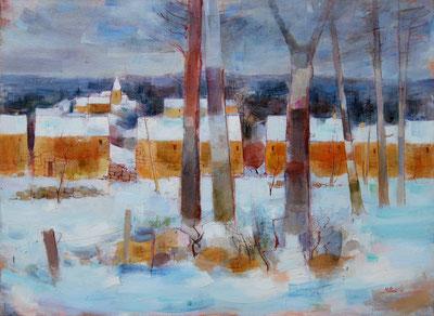 NEIGE ET VILLAGE (huile sur toile marouflée bois) 54 x 73 cm JF.Millan