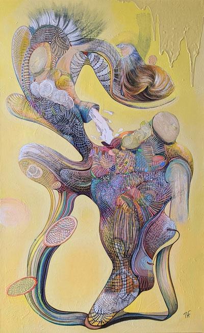 Vague souvenir de l'humanité Acrylique sur toile 130x81 Exposée Galerie Art Pluriel Rive Droite St Etienne
