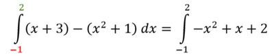 Rechenweg zur Berechnung der Fläche zwischen zweier Funktionen.