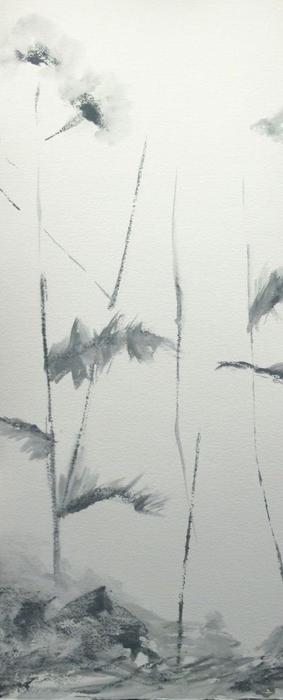 "Thistle #3, 2014, watercolor 40"" x 18"""