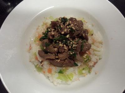 レバーと青梗菜の炒め物