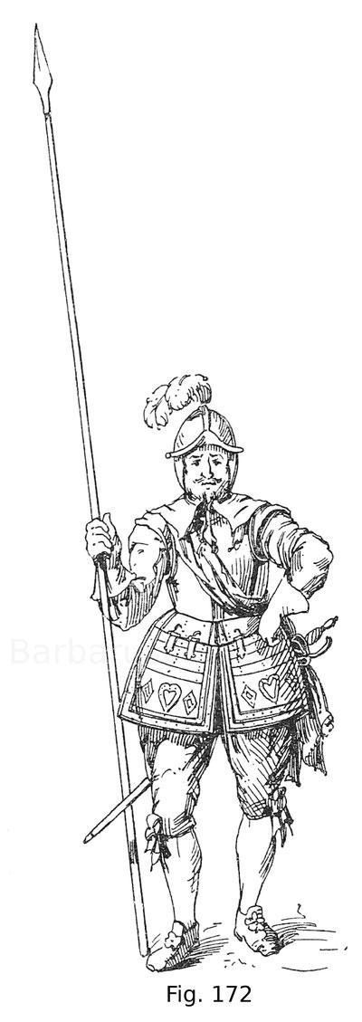 Fig. 172. Pikenier aus dem englischen Heer. Der Harnisch stammt aus der ehemaligen Sammlung Meyrick in Goodrich-Court. 17. Jahrhundert. Nach Meyrick.