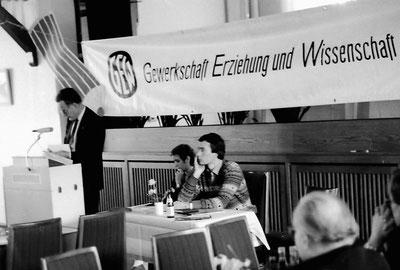 """KMV 1985 (?) mit Erich Fristen (li), Sybille Winter und Günter Bruns im """"Fährhaus Kirschenland"""""""