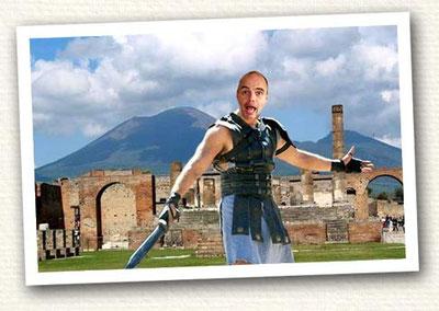 Steve as gladiator in Pompeii ruins