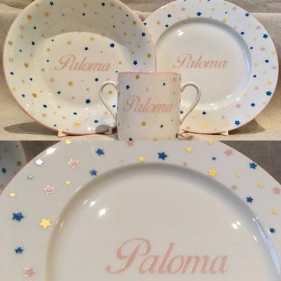 Coffret vaisselle porcelaine personnalisée naissance