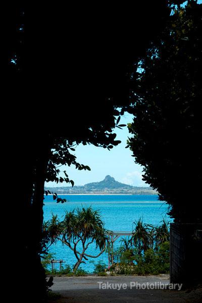 フクギ並木のトンネルから見る伊江島 沖縄の風景