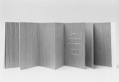"""Zellen (aus """"acht bücher und ein taschenbuch"""",  1993)  Alugrafie auf Papier, Leporello, Auflage 9, Text: Ernst Jandl"""