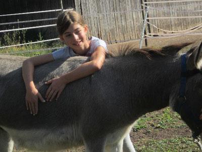 Reise nach Jerusalem mit den Eseln, hier Mr. Tom mit Leni :-)