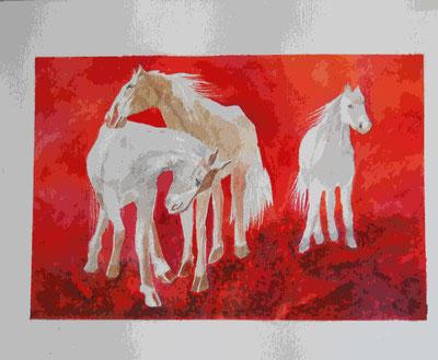"""""""I cavalli bianchi"""" quadro dell'artista Angela Gallinatti, Agliè"""