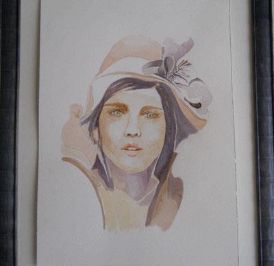 """""""Simona"""",  ritratto eseguito dall'artista Angela Gallinatti in esposizione ad Agliè"""