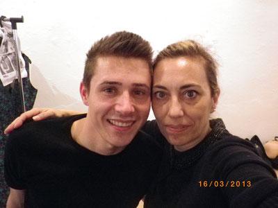 Con mi compañero de fatigas, Liviu Scutelnicu, cansados ya de la larga jornada.