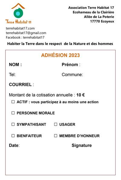 Bulletin d'adhésion 2021 à télécharger