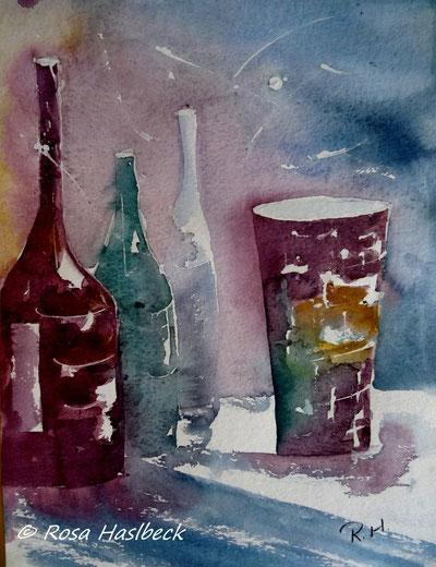 aquarell, stillleben, krüge, flasche, flaschen, kerze, rot, gelb, vase,  blau, , bild, handgemalt,  kunst, bild, wanddekoration, geschenkidee, dekoration, wandbild, art, malen, malerei