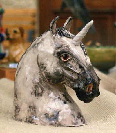 Einhorn, Schimmel, Krafttierfigur, Keramiktier, Tontier, Tierfigur, Tierskulptur, Figur, Tierfigur, aus Ton, Skulptur, Keramik, modelliert