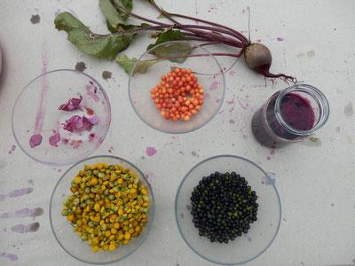 Die NABUKI stellen Naturfarben her: Ausgangsmaterialien