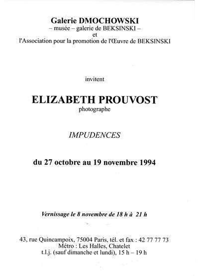 Impudences Galerie Dmochowski Prouvost Elizabeth Photographe