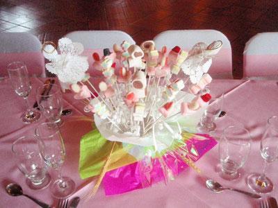 Centros de mesa con dulces