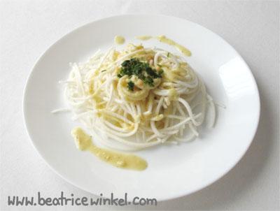 vegan turnips pasta with almond sauce