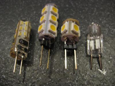 diverse LED im Vergleich zu Halogen, ganz links ist jetzt in der Nutzung