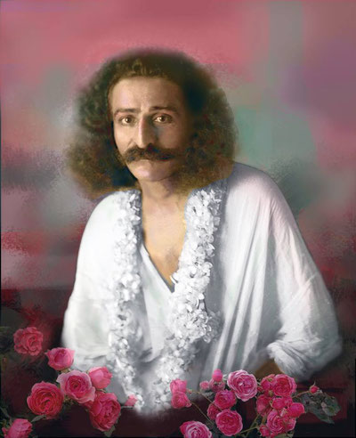 Colourized photo of Meher Baba by Frank Bloise