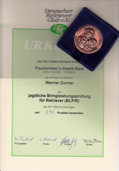 BLP/R-Urkunde und DRC-Medaille für Fischermen´s friend Kera