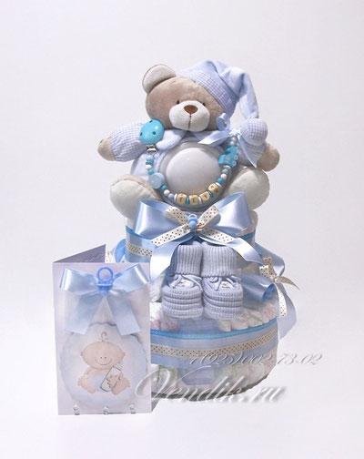 """Именной подарок новорожденному ребёнку. Торт из памперсов  с именным держателем """"Мишутка Соня"""""""