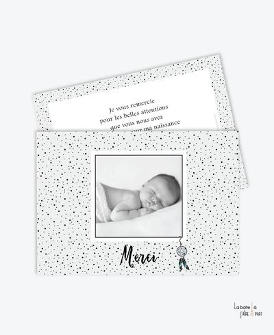 carte de remerciement naissance garçon- Attrape rêves à pois-tendance-moderne-pas cher- pois- noir et blanc