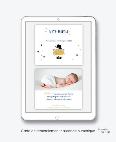 carte de remerciements naissance garçon numérique-cactus-carte de remerciement électronique -pdf imprimable-pdf numérique-faire part connecté- renard chapeau-à imprimer soi-même-carte de remerciement naissance à envoyer par mail