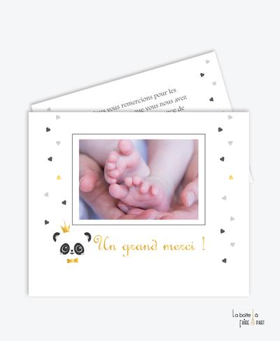 carte de remerciement garçon-panda couronne-noeud papillon-tendance-moderne-pas cher