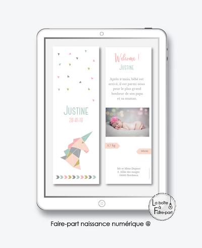 faire-part naissance numérique-faire part naissance électronique-faire part numérique-pdf imprimable-pdf numérique-faire part connecté-licorne origmami-faire part à imprimer soi-même-faire-part à envoyer par sms ou mms - faire-part à envoyer par mail