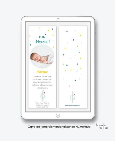 carte de remerciements naissance garçon numérique-cactus-carte de remerciement électronique -pdf imprimable-pdf numérique-faire part connecté- cactus-à imprimer soi-même-carte de remerciement naissance à envoyer par mail