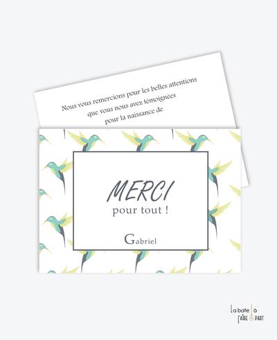carte de remerciement naissance garçon-colibris vert-tendance-moderne-pas cher- oiseaux- jungle-
