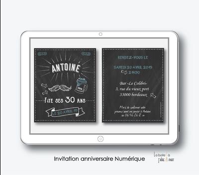 invitation anniversaire homme numérique-electronique-ardoise moustache-pdf-chope de biere-pas cher- 20ans-30ans-40ans-50ans-60ans-à imprimer soi-même