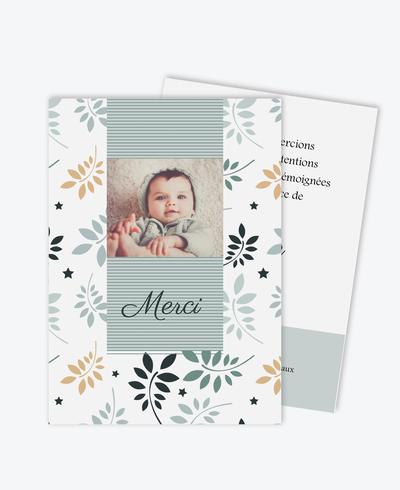 carte de remerciement naissance garçon feuilles et étoiles-couleur printemps-rayure